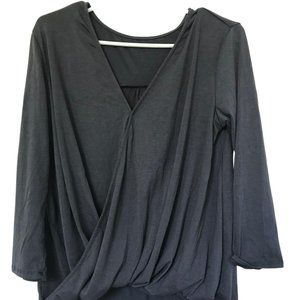 Gray Long Sleeve High Low Wrap Top Size Small